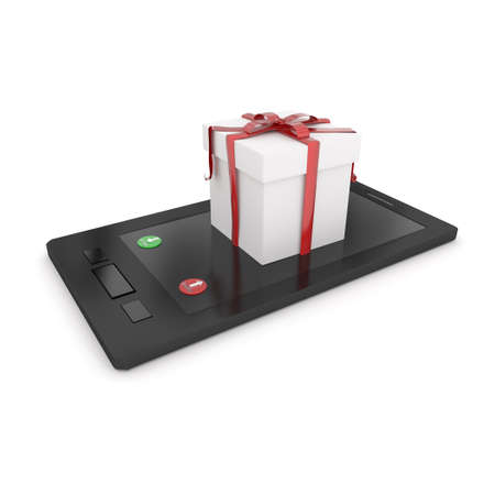 decline: 3d gift box on mobile phone , showing accept or decline button concept in white isolated background Stock Photo