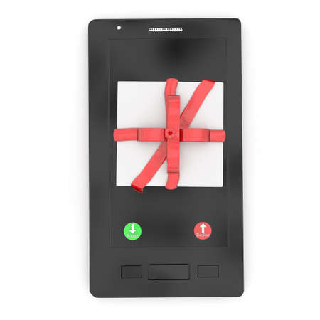 ignore: 3d gift box on mobile phone , showing accept or decline button concept in white isolated background Stock Photo