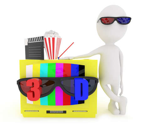 stereoscope: 3d white character wearing 3d glass and standing near to television with stereoscopic 3d support with film clapboard and popcorn placed top of the tv concept in white isolated background