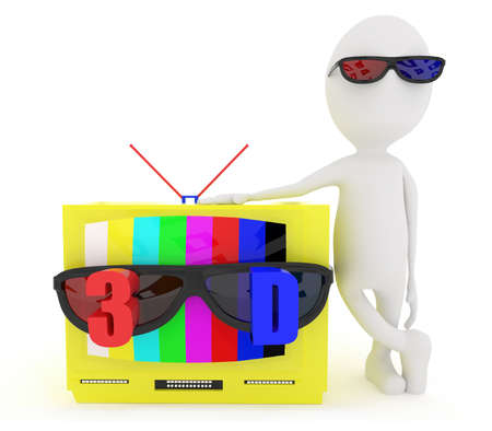 stereoscopic: 3d white character wearing 3d glass and standing near to television with stereoscopic 3d support concept in white isolated background Stock Photo