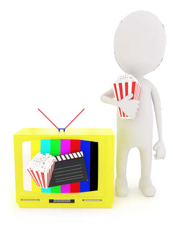 televison: 3d white character holding popcorn , near to a television with antenna , a clapboard and popcorn projected from the televison screen concept in white isolated background Stock Photo