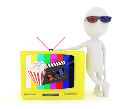 clapboard: 3d white character wearing 3d glass and standing near to television with 3d support , a clapboard and popcorn projected from the televison screen concept in white isolated background