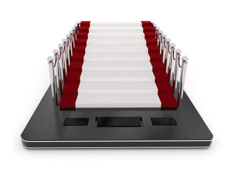 communicative: 3d mobile phone , carpet with stanchions on its screen concept in white isolated background Stock Photo
