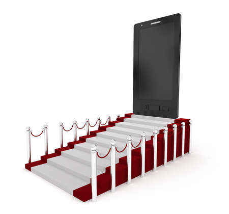 communicative: 3d mobile phone on the top of carpet with stanchions concept in white isolated background Stock Photo