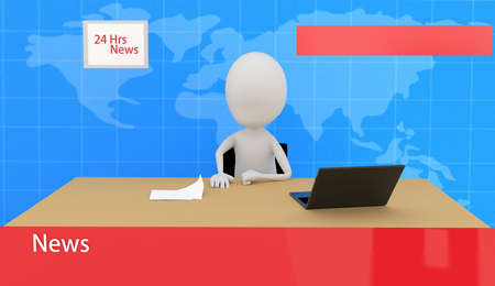 the reporting: 3d news reporting concept in white isolated background Stock Photo