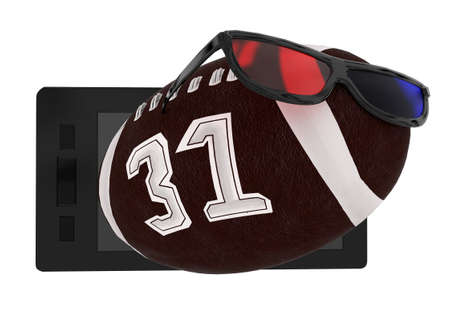 stereoscopic: 3d mobile phone- 3d stereoscopic glasses , american football concept in white isolated background Stock Photo