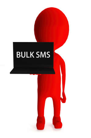 sms text: 3d red character holding laptop and its screen showing bulk sms text concept in white isolated background