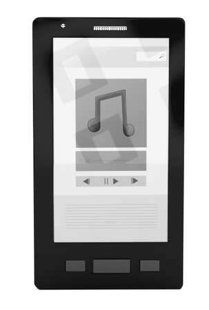 portability: 3d smartphone - music application concept in white isolated background Stock Photo