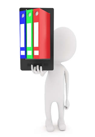 binders: 3d white character holding smartphone with binders on screen concept in white isolated background Stock Photo