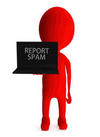 spamming: 3d red character holding laptop and its screen showing report spam text concept in white isolated background Stock Photo