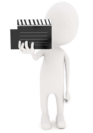 clap board: 3d white character holding film clap board in hand concept inwhite isolated background