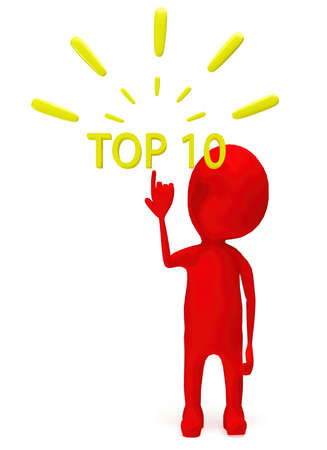 3d red character pointing hand towards top 10 text concept in white isolated background