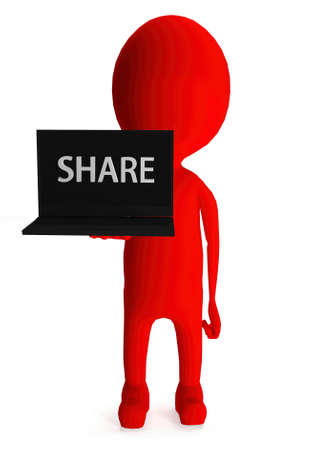 shared sharing: 3d red character holding laptop and its screen showing share text concept in white isolated background