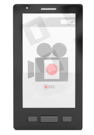 portability: 3d smartphone- video recording application concept in white isolated background