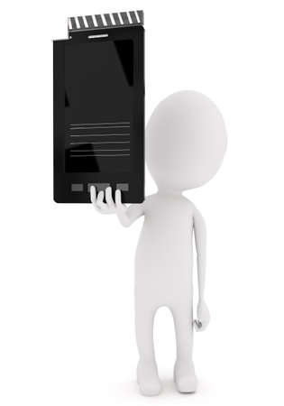 clap board: 3d character presenting film clap board smartphone concept in white isolated background