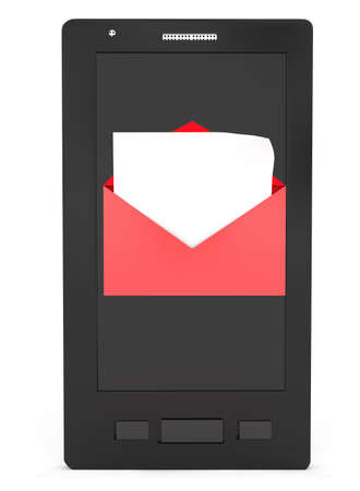 recieve: 3d smartphone with opened envelope message concept in white isolated background Stock Photo