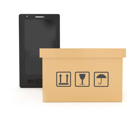 packaged: 3d smartphone with cardboard boxe with logistics instruction signs concept in white isolated background