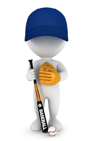 3d white people baseball player with a bat , ball and a blue cap photo