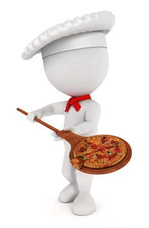 3d white people pizza  cook with a pizza