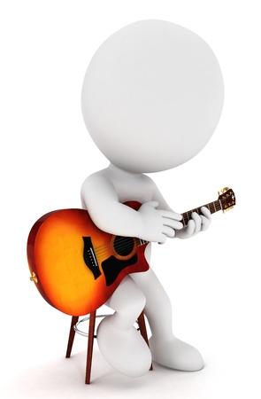 3D White людей, играющих в Fingerstyle гитары соло Фото со стока