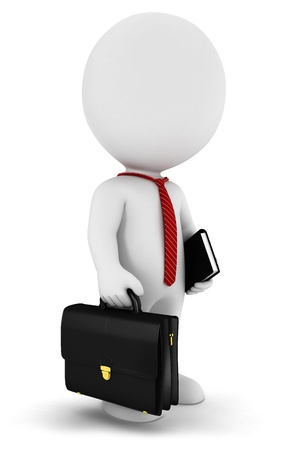3d white people businessman with a briefcase , a book and wearing a tie Stock Photo