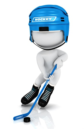 ice hockey puck: 3d white people playing hockey with a stick , a puck and wearing a blue helmet