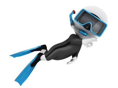 swimming underwater: 3d white people scuba diver in submarine with a blue equipment Stock Photo