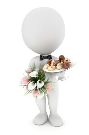 3 белых людей пригласили на свадьбу с цветами, шоколадом смесь на стеклянной пластине и носить галстук-бабочку, белом фоне Фото со стока