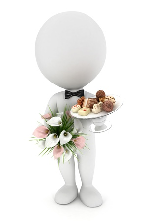 3d white people invited to the wedding with flowers , chocolate mix on a glass plate and wearing a bow tie, isolated white background