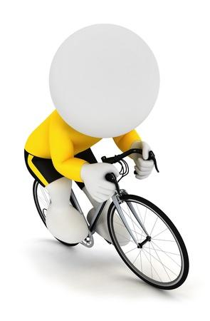 3d personnes de race blanche de course cycliste sur un cycle et coiffé d'un maillot jaune, isolé sur fond blanc Banque d'images