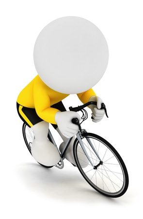 3d small person: 3d white people racing cyclist on a cycle and wearing a yellow jersey, isolated white background Stock Photo