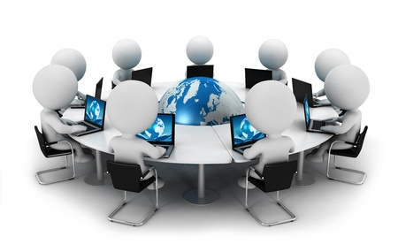 people connected: 3d white people seated on chair and connected with computer around a blue world behind a round table, isolated white background, 3d image