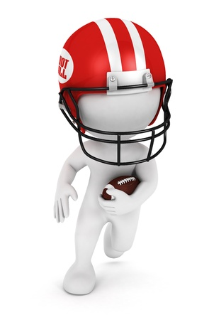 3d white people playing american football with a ball and wearing a red helmet, isolated white background, 3d image