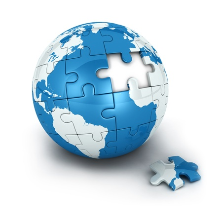 puzzle: blue earth of puzzle with one piece missing, isolated white background, 3d image