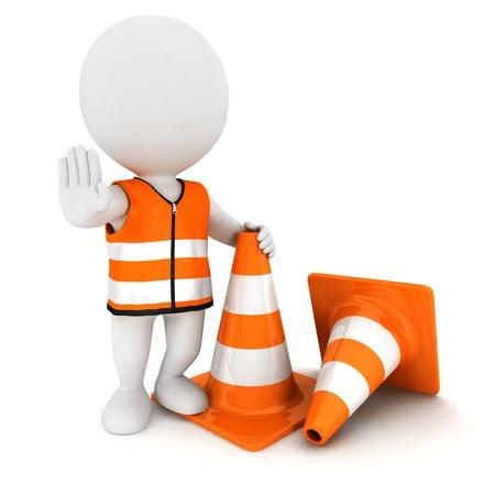 3D-weiße Menschen Stoppschild mit Leitkegel und eine Warnweste tragen, isoliert auf weißem Hintergrund, 3D-Bild Standard-Bild