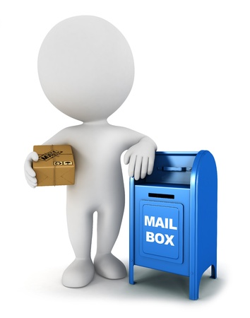 mails: 3d white people with a mail package and be leaning against a mailbox, isolated white background, 3d image