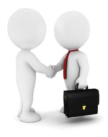 bonhomme blanc: 3d blanc d'affaires gens conclure un accord, portant une cravate rouge, et avoir une serviette, isolé sur fond blanc, image 3d