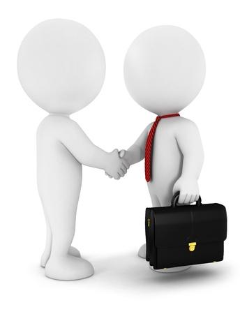 3d witte mensen zakenlieden slaan van een overeenkomst, het dragen van een rode stropdas, en hebben een aktetas, geà ¯ soleerde witte achtergrond, 3d beeld
