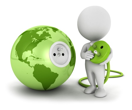 enchufe: 3d personas de raza blanca se conecta el enchufe dentro de la tierra verde, fondo blanco, imagen 3d Foto de archivo