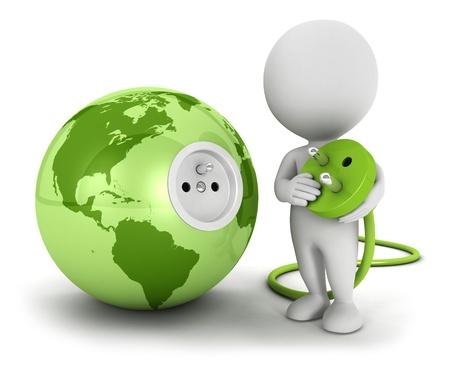 elektriciteit: 3d witte mensen verbindt plug in groene aarde, witte achtergrond, 3d beeld
