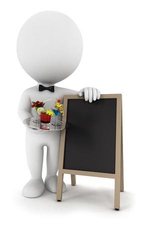 3d белый официант людей с коктейлем и пустой доске, изолированных на белом фоне, 3D изображения Фото со стока