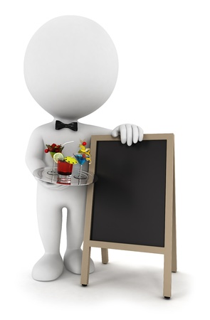serve: 3d white people waiter with cocktail and a blank blackboard, isolated white background, 3d image Stock Photo