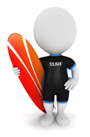 3d white people surfer with a surfboard and wearing equipment, isolated white background, 3d image Stock Photo