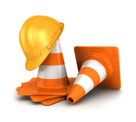 roadworks: 3d orange traffic cones and a yellow safety helmet, isolated white background, 3d image Stock Photo