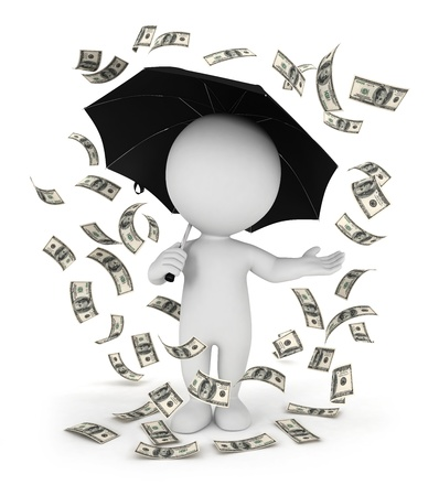 3d white people money rain with an umbrella, isolated white background, 3d image photo