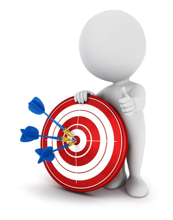 dart board: 3d white people hit the red target with blue darts, isolated white background, 3d image