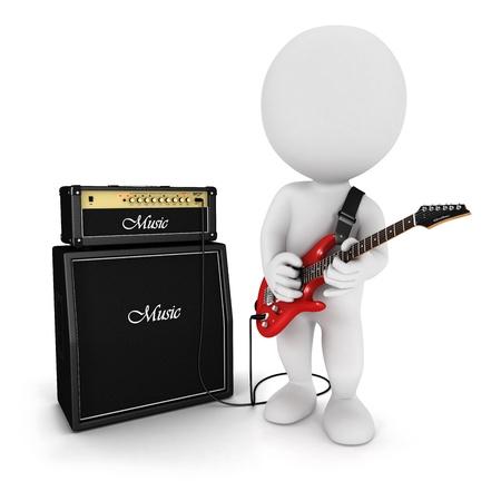 3d белые люди, играющие красной электрической гитаре возле усилителя, изолированных на белом фоне, 3D изображения