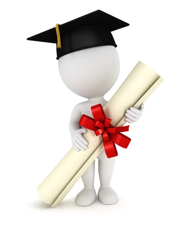 diplomas: 3d white people graduate, with a diploma certificate and a black mortarboard, isolated white background, 3d image