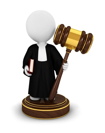 3d white people judge with a gavel,a book and wearing a gown, isolated white background, 3d image