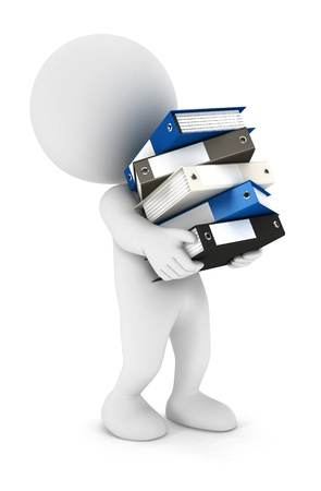 3d white people overworked with a lot of files isolated white background, 3d image Stock Photo - 13923896